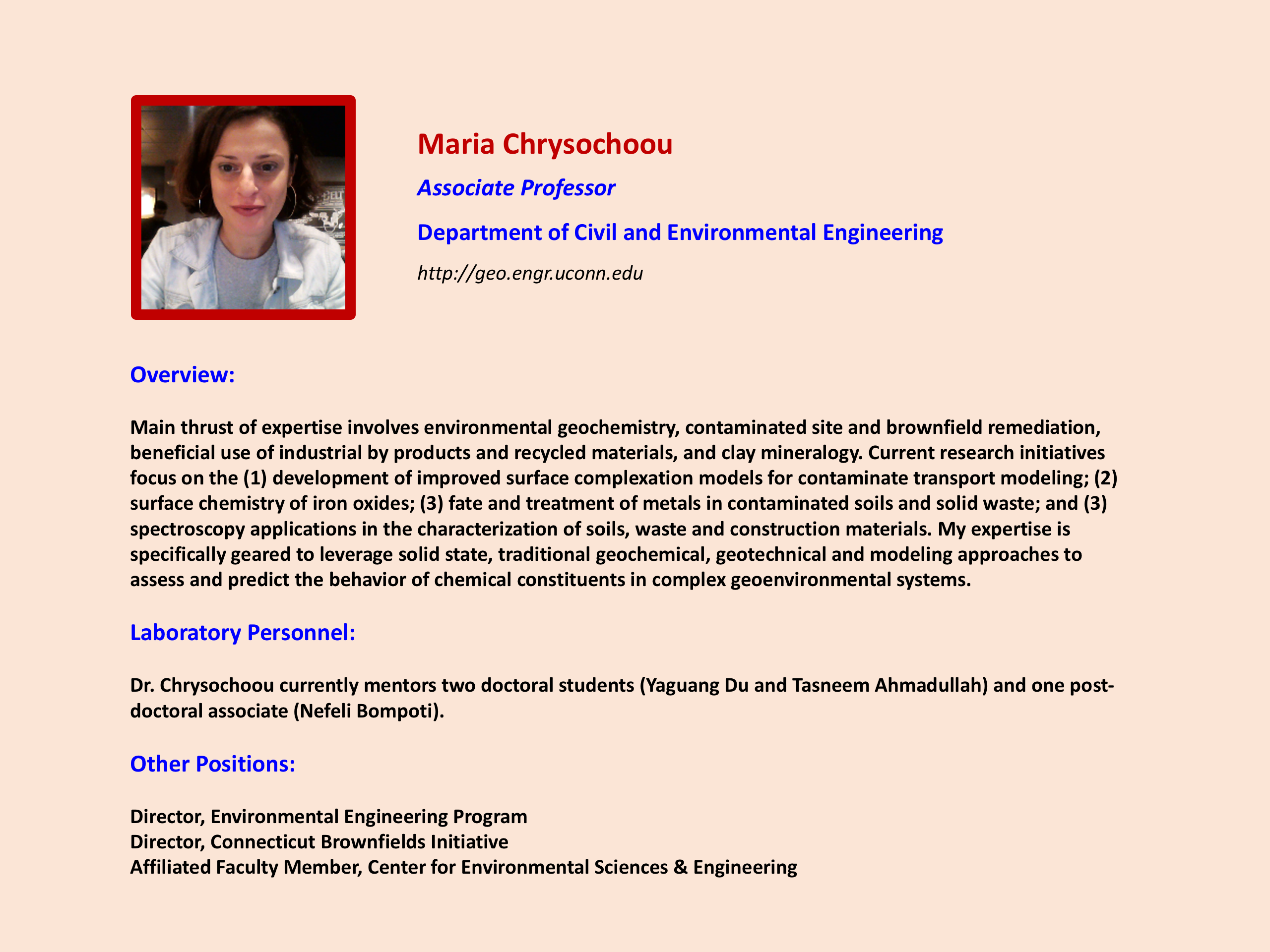 Focus on Faculty Maria Chrysochoou