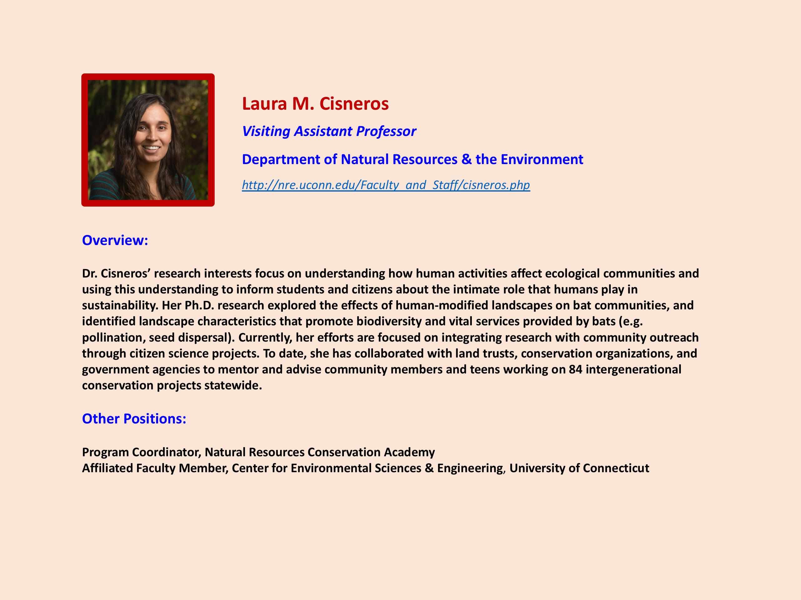 Focus on Faculty Laura Cisneros