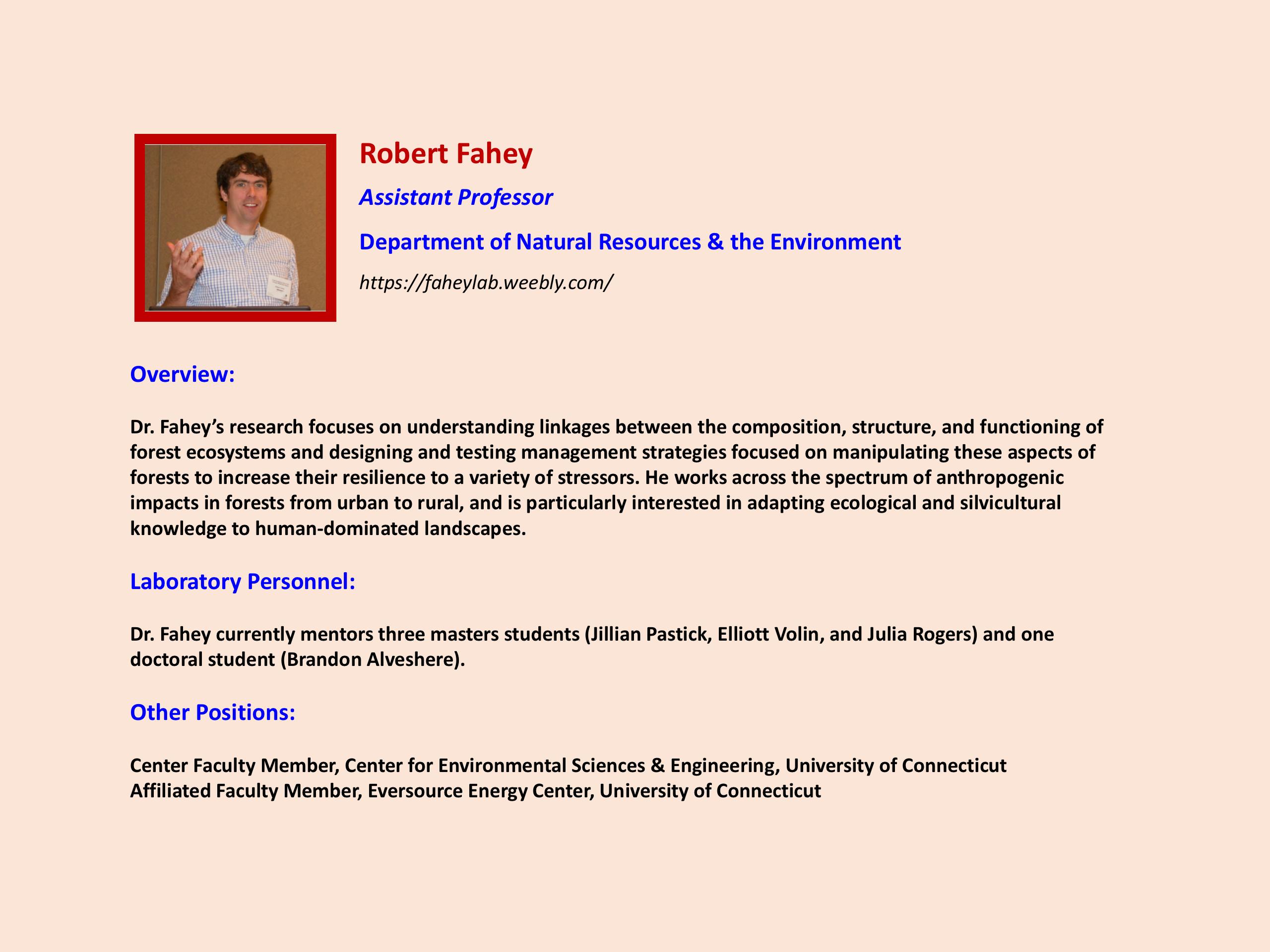 Focus on Faculty Robert Fahey