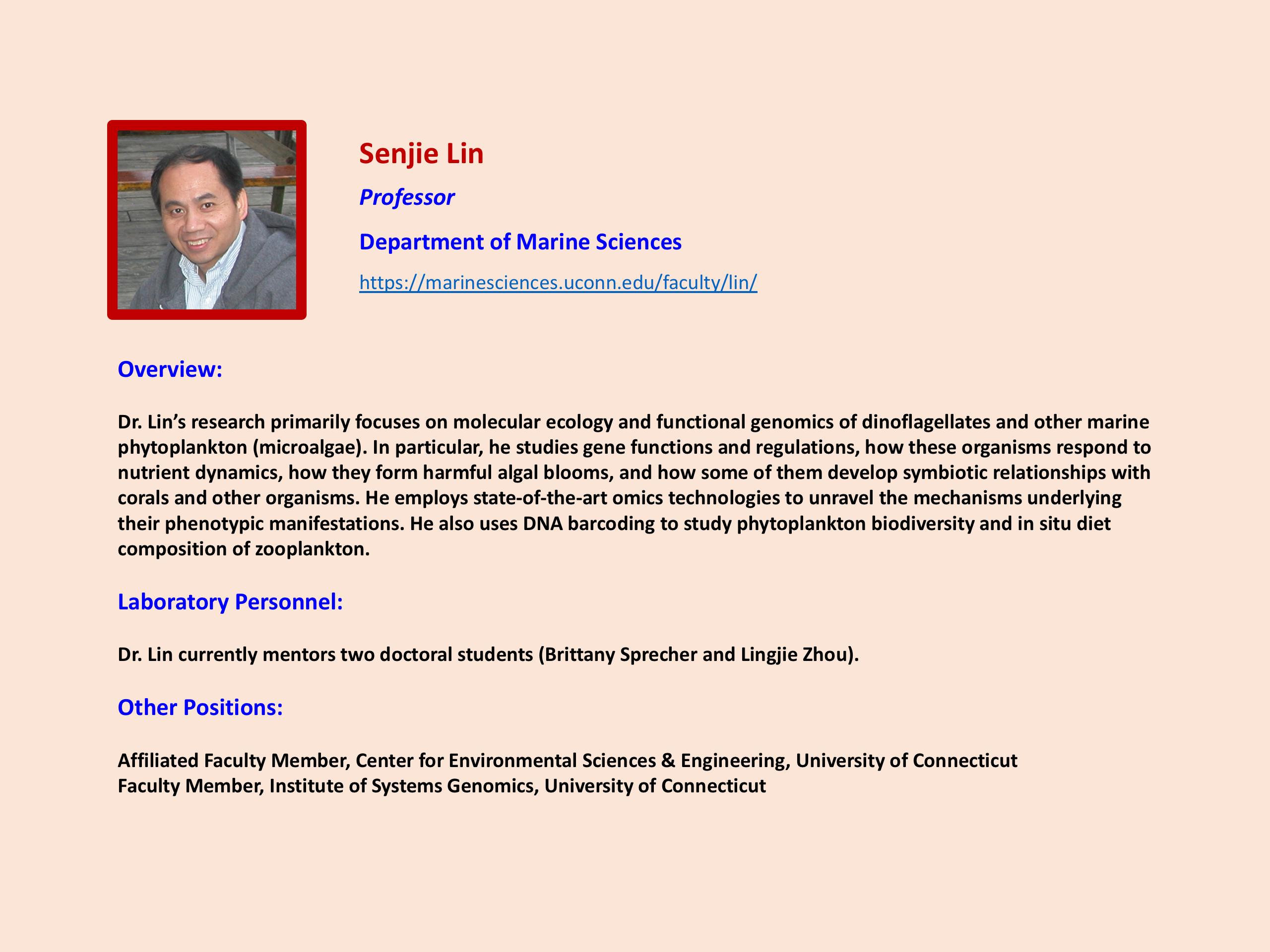Focus on Faculty Senjie Lin
