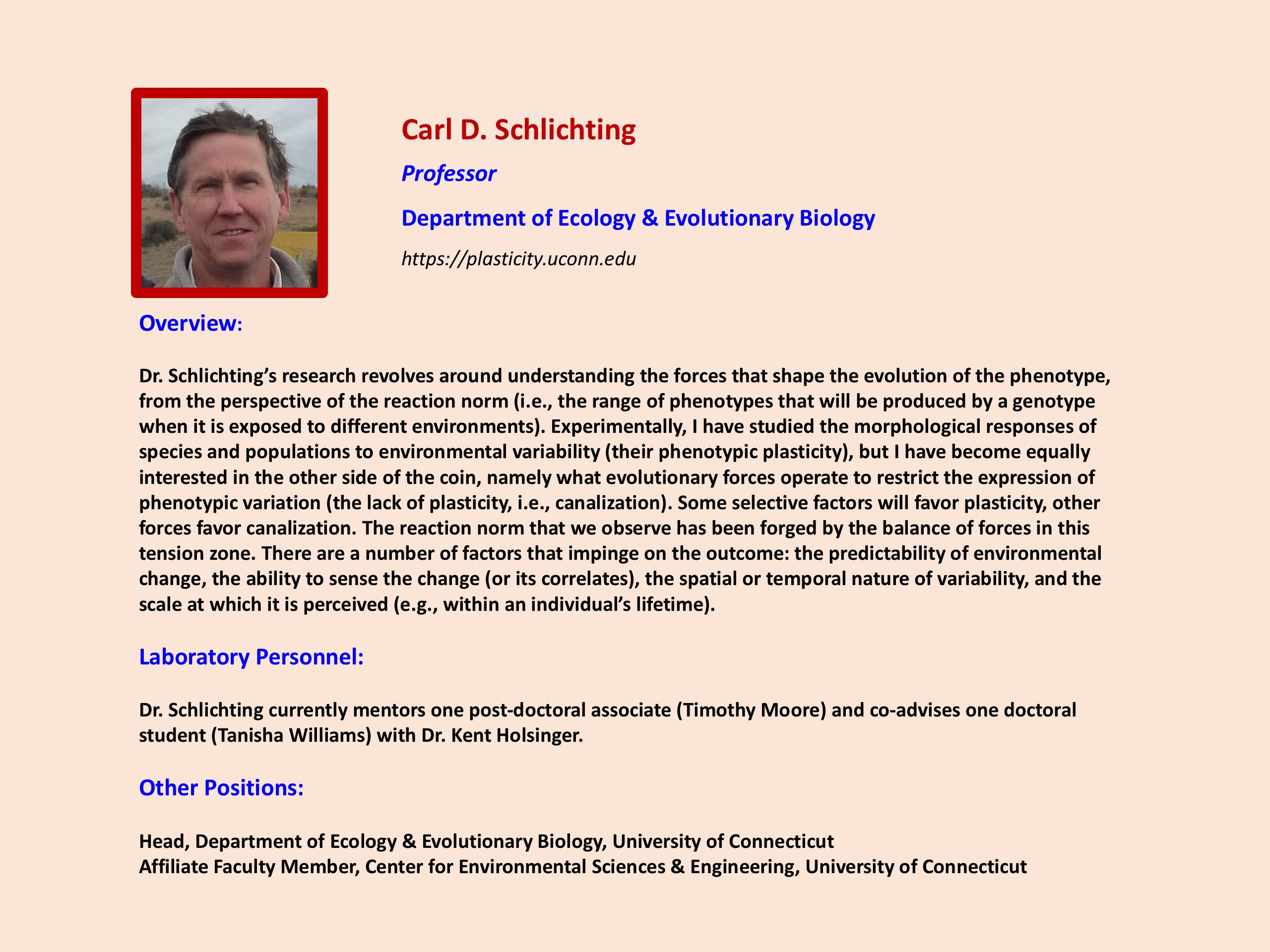 Focus on Faculty Carl Schlichting