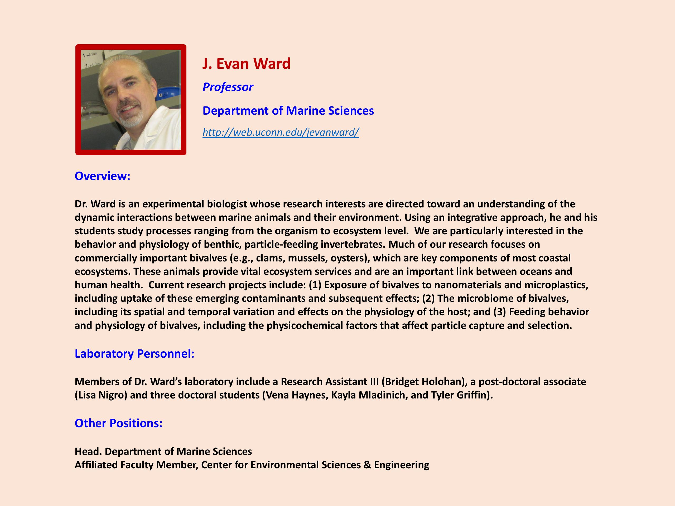 Focus on Faculty - J. Evan Ward